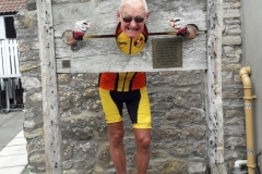 In July we put Pete in the stocks at Almondsbury