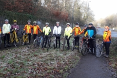 Tuesday riders in January about to leave Dudbridge
